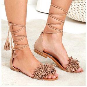 Steve Madden fringe lace up sandals